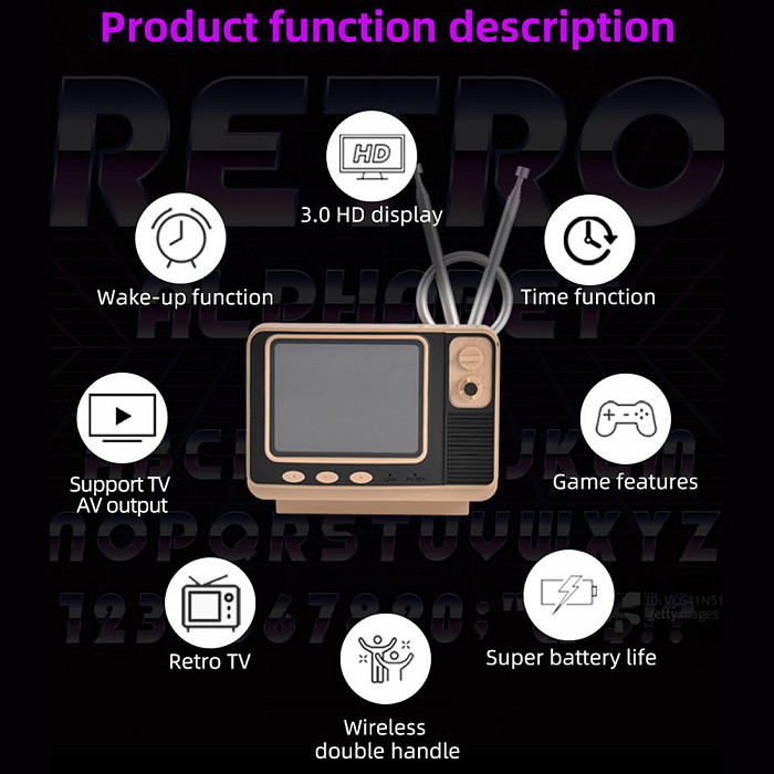 Retro TV Handheld 108 Games Console with Double Controllers Support TV Output