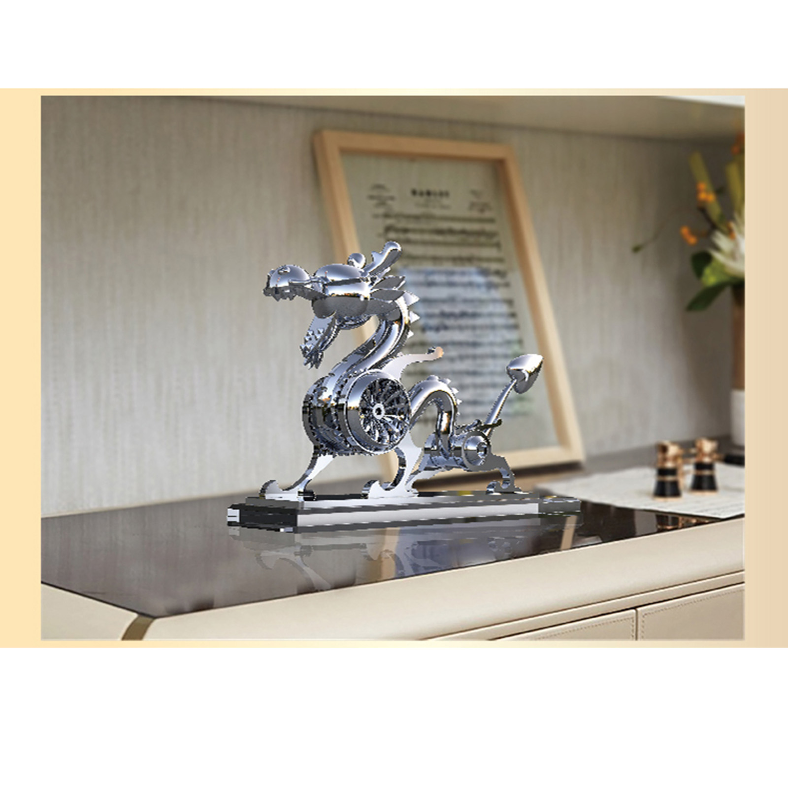Static Mechanical Dragon Metal Animal Model