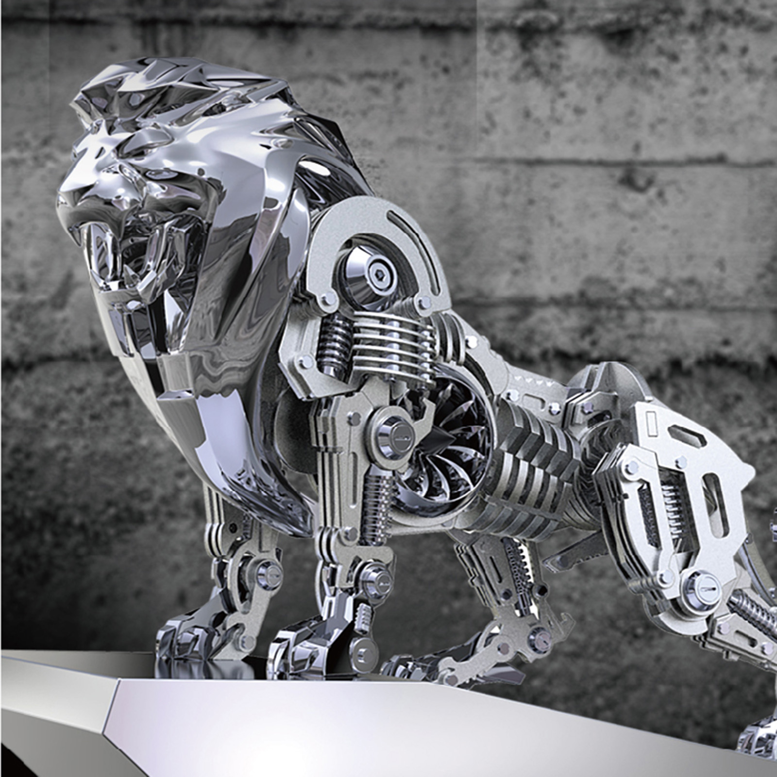 Static Mechanical Lion Metal Animal Model
