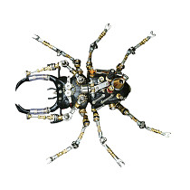 406Pcs Mechanical Stag Beetle 3D Puzzle DIY Metal Insect Model Kit