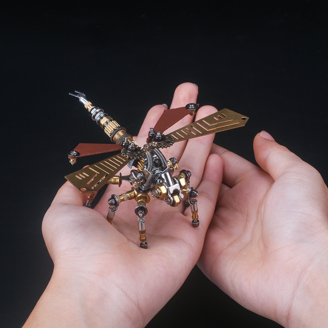 243Pcs Mechanical Dragonfly 3D Puzzle DIY Metal Insect Model Kit