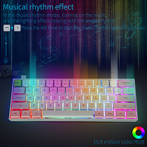 SK61 61-Key Gateron Optical Blue Switch Mechanical Keyboard Wired Type-C Mode PBT Keycaps RGB Backlit for Gaming /Win /Mac