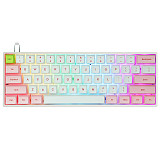 SK61S 61-Key Gateron Optical Red Switch Mechanical Keyboard Bluetooth USB Dual-Mode PBT Keycaps RGB Backlit for Gaming /Win /Mac