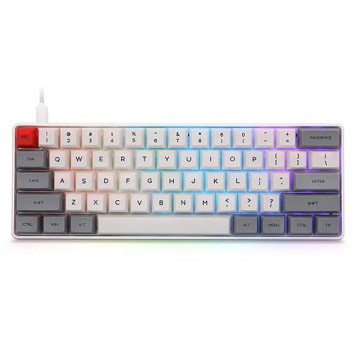 SK61S 61-Key Gateron Optical Blue Switch Mechanical Keyboard Bluetooth USB Dual-Mode PBT Keycaps RGB Backlit for Gaming /Win /Mac