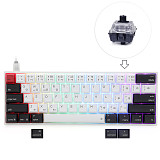 AK61S 61-Keys Mechanical Keyboard Bluetooth USB Dual-Mode PBT Keycaps with RGB Backlit for Win/Mac/Gaming