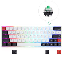 AK64S 64-Keys Mechanical Keyboard Bluetooth USB Dual-Mode PBT Keycaps with RGB Backlit for Win/Mac/Gaming