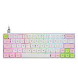 SK64S 64-Key Gaming Mechanical Keyboard GSA Dye-sub PBT Keycaps Bluetooth USB RGB