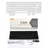 Keydous NJ68 68-Key Gaming Mechanical Keyboard PBT Keycap Bluetooth Wired Dual-mode RGB Backlit
