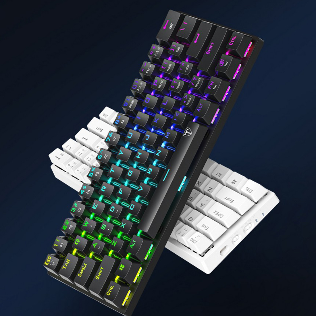 ET61 61-Key Gaming Mechanical Keyboard WirelessBluetooth+Wired Dual-mode RGB Backlit for Windows /Mac /Andoid