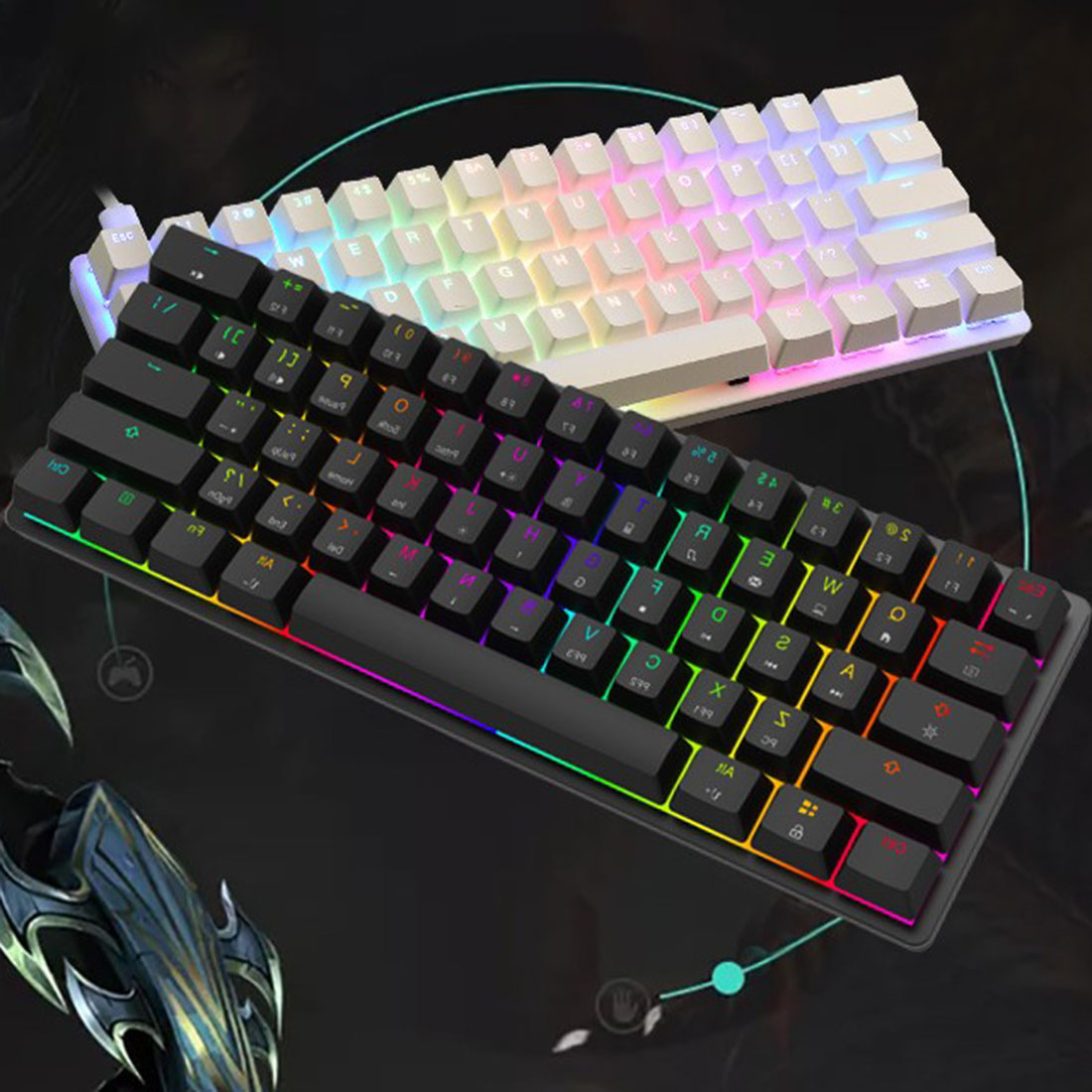 MK21 61-Key Gaming Mechanical Keyboard Wired RGB Backlit for Windows /Mac /Andoid