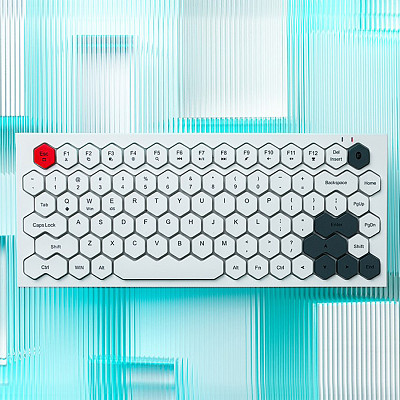 MOFII Honeycomb Keyboard 83-Key Keycaps Bluetooth Wireless Wired Dual-mode for Windows /Android /Mac IOS /Linux