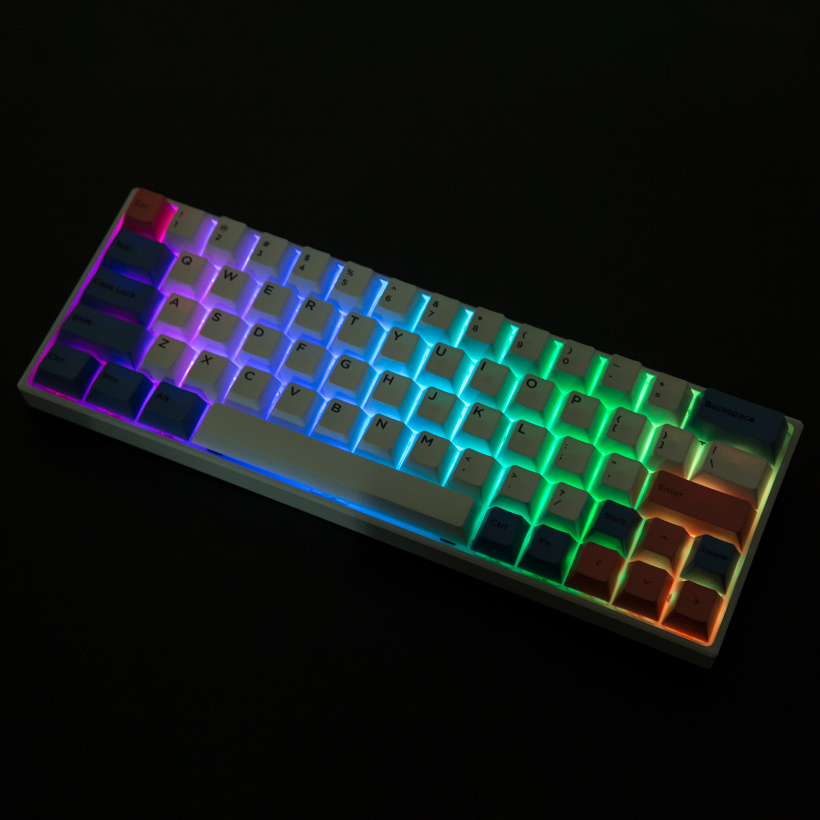 YC64 64-Key Gaming Mechanical Keyboard Hot Swappable PBT Keycaps RGB Bluetooth Wireless Wired Dual-mode for Windows/Mac/Andoid
