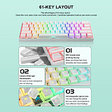 Gaming Mechanical Keyboard ​61 Keys ​Pudding Keycaps Double Shot PBT RGB Wired Gateron Optical Switch