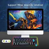 RK61 61 Keys 60% Gaming Mechanical Keyboard Compact USB Wired Bluetooth Dual-mode (Black RGB)