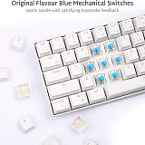 RK61 61 Keys 60% Gaming Mechanical Keyboard Compact USB Wired Bluetooth Dual-mode (White Case + Blue Light)