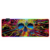 RGB Luminous Gaming Mouse Pad Colorful Oversized Desk Mat for Mechanical Keyboard Mouse - Colorful Skull