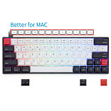 AK64 64-Key Gaming Mechanical Keyboard Wired Type-C Mode PBT Keycaps with RGB Backlit for Win/Mac