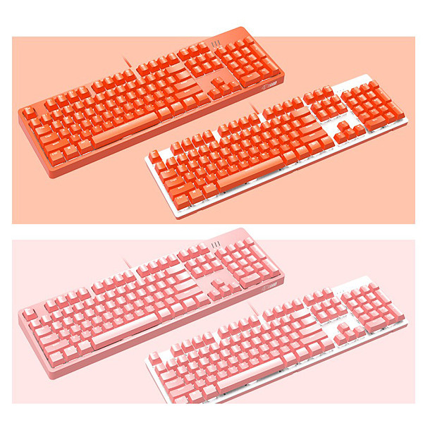 DKM150 Mechanical Gaming Keyboard White Backlit USB 104 Keys Keyboard with Magnetic Suction Panel for PC Gaming