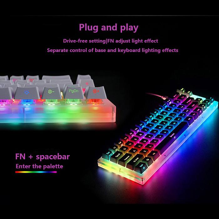 Womier 66 Keys RGB Backlit Hot Swappable 60% Gaming Mechanical Keyboard