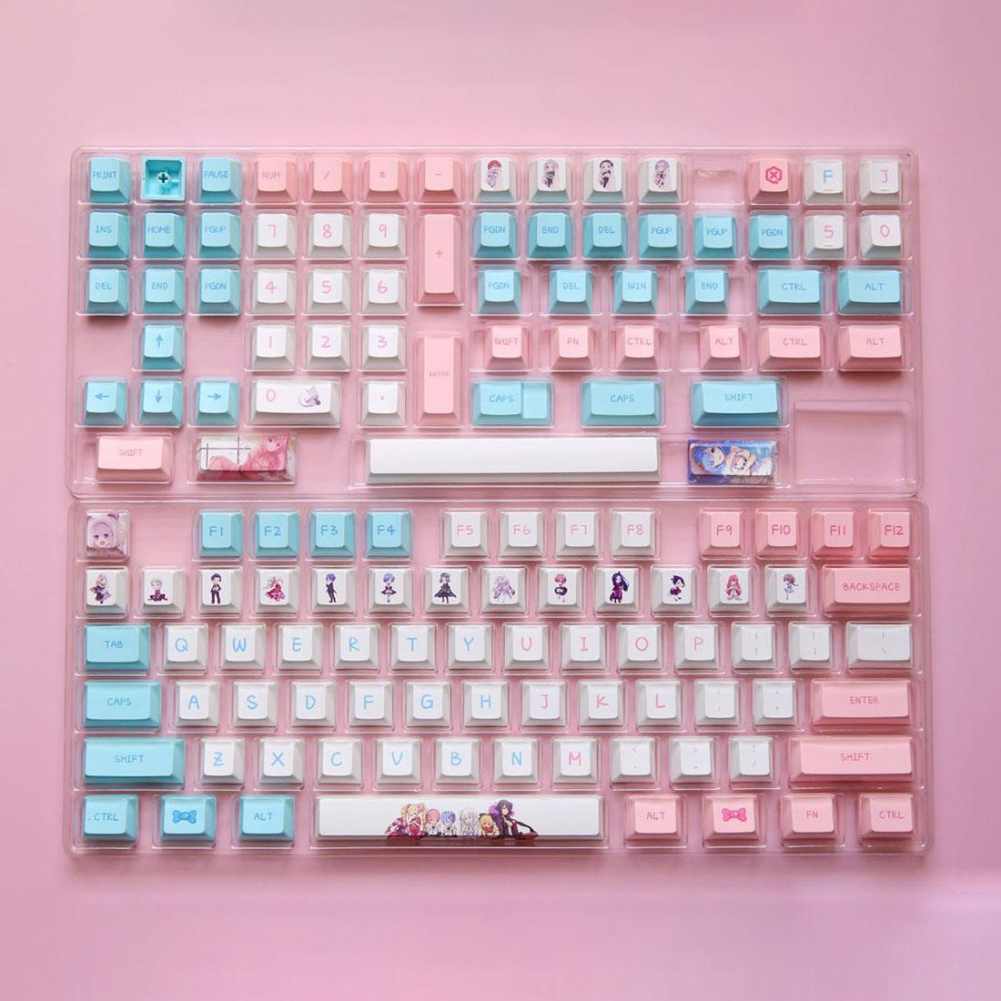 138pcs Keycaps Set Anime PBT Dye-sub with Puller for 61/64/87/96/104 Keys GH60 RK61 Matrix Joke Custom Mechanical Gaming Keyboard