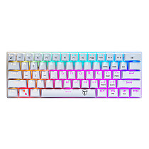 ET61 61 Keys Wireless Bluetooth RGB Ultra-Compact 60% Mechanical Gaming Keyboard for Windows / Mac / Andoid - White RGB Backlit (Brown Switches)