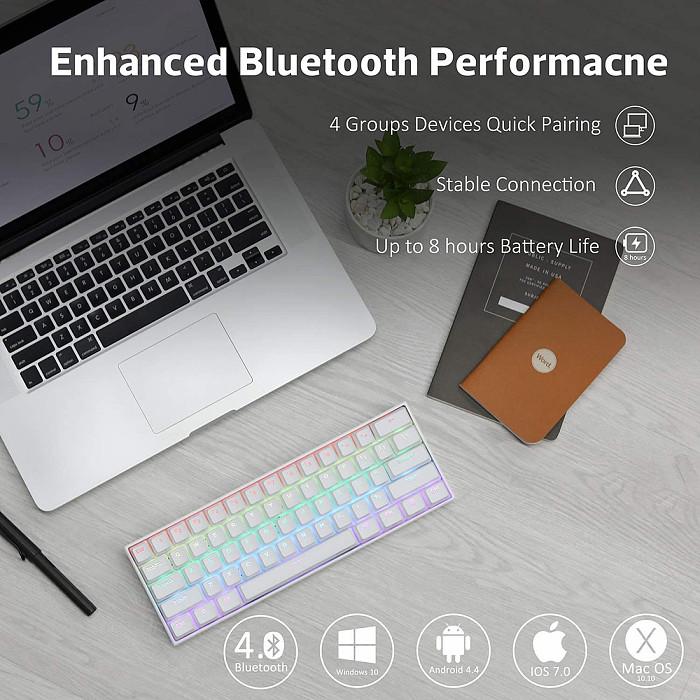 ANNE PRO 2 Mechanical Keyboard Fully Programmable Keys RGB Backlit 61-Key PBT Keycaps Bluetooth 4.0