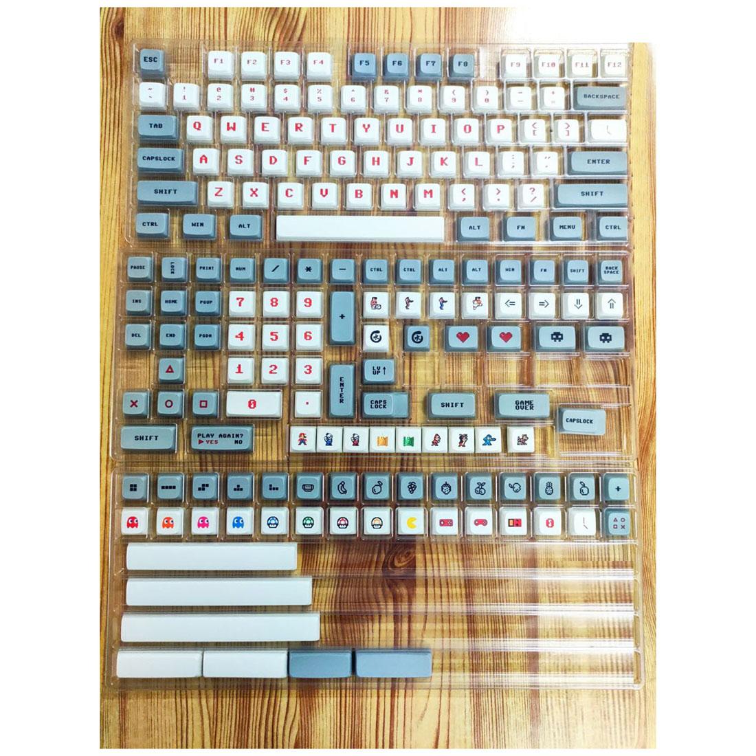 182pcs Gaming Theme Keycaps Set PBT Dye-sub with Puller for 61/64/87/96/104 Keys GH60 /RK61 /Matrix /Joke Custom Gaming Mechanical Keyboard