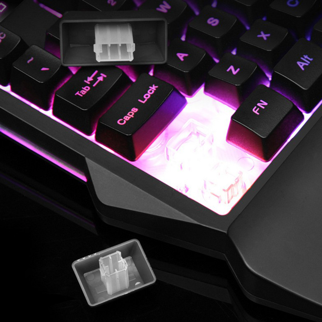 G30 One-handed Mechanical Gaming Keyboard 35-key RGB Keyboard for Windows - Mac PC Gamers - 7 LED Backlight Version + RGB Wired Mouse Black
