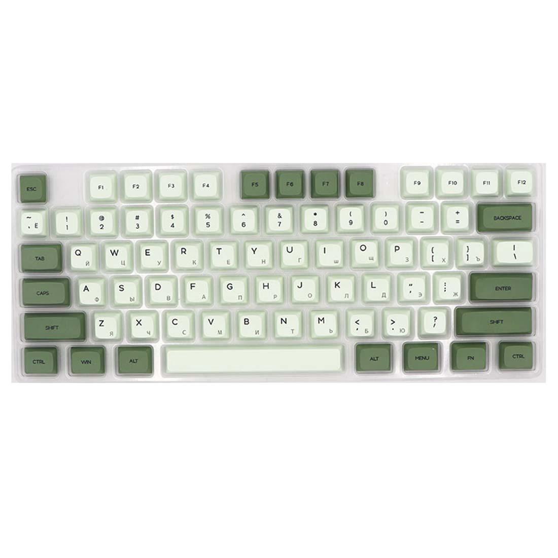 124Pcs Matcha PBT Dye-sub Keycaps with Puller for 61/64/87/96/104 Key GH60 RK61 Annie Pro Joke Custom Mechanical Gaming Keyboard - Russian Radical
