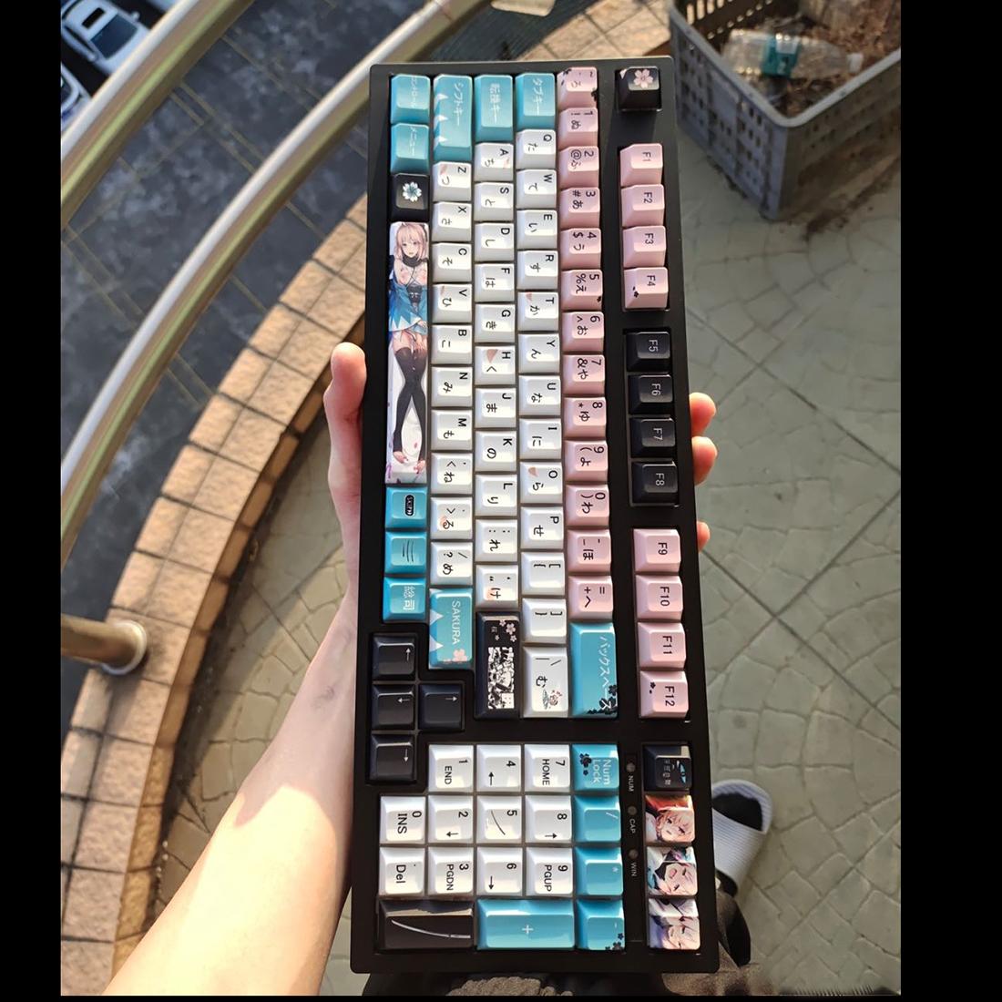 129pcs Keycaps Set PBT Dye-sub with Puller for 61/64/87/96/104 Keys GH60 RK61 Matrix Joke Custom Mechanical Gaming Keyboard