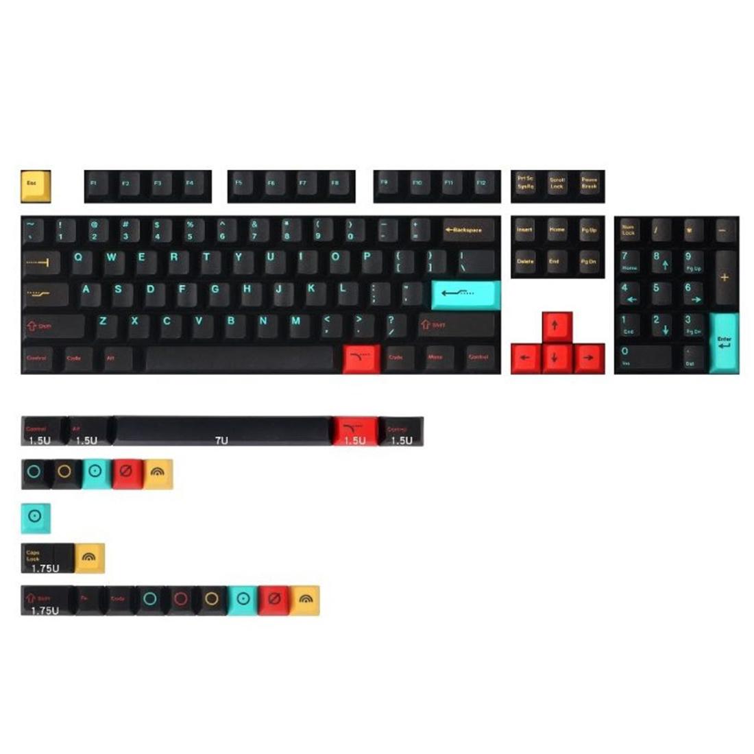 129pcs Metropolis Keycaps Set PBT Dye-sub with Puller for 61/64/87/96/104 Keys GH60 RK61 Matrix Joke Custom Mechanical Gaming Keyboard