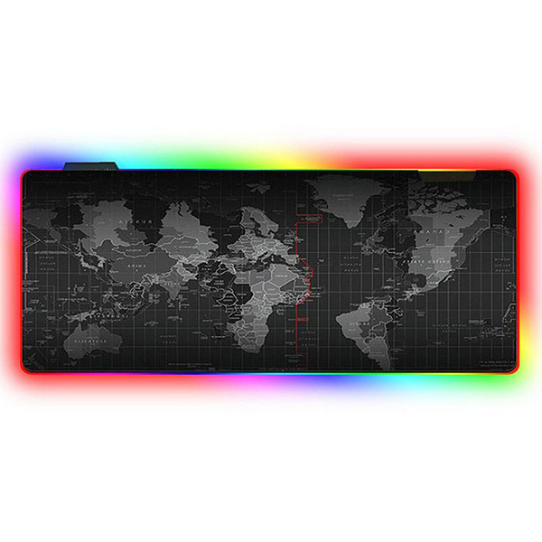 RGB Luminous Gaming Mouse Pad Colorful Oversized Desk Mat for Mechanical Keyboard Mouse - World Map