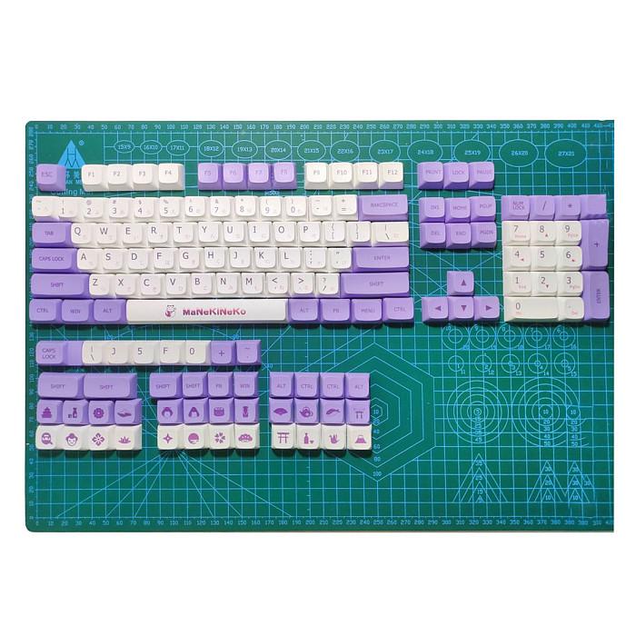 138pcs Milk Purple Keycaps Set PBT Dye-sub with Puller for 61/64/87/96/104 Keys GH60 /RK61 /Matrix /Joke Custom Gaming Mechanical Keyboard