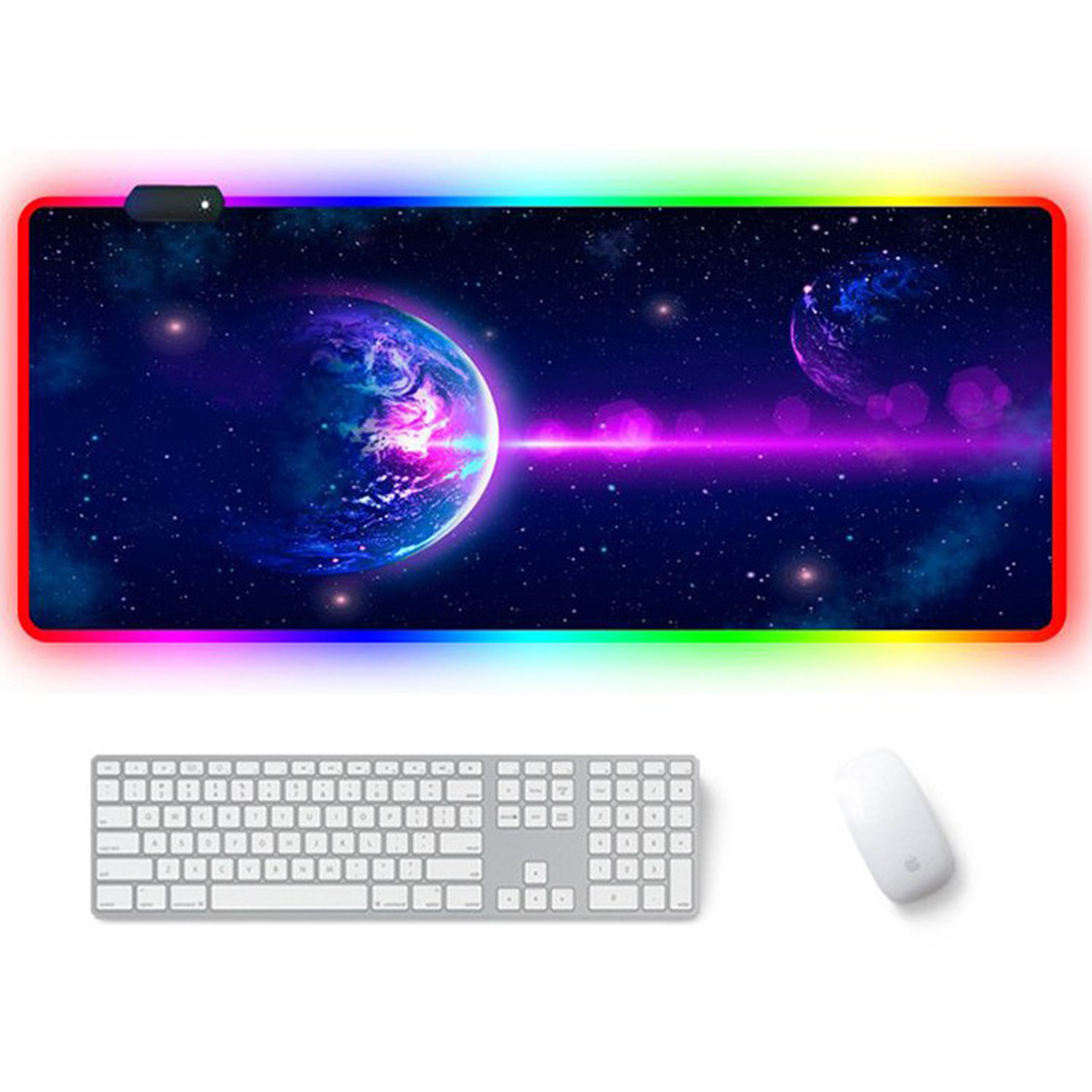 RGB Luminous Gaming Mouse Pad Colorful Oversized Desk Mat for Mechanical Keyboard Mouse