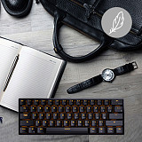 RK61 61 Keys 60% Gaming Mechanical Keyboard Compact USB Wired Bluetooth Dual-mode (Black Case + Yellow Light)