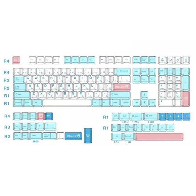 140pcs Cream Style Keycaps Set PBT Dye-sub  with Puller for 61/64/87/96/104 Keys GH60/RK61/Matrix/Joke Custom Gaming Mechanical Keyboard