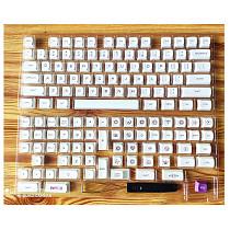 138Pcs PBT Dye-sub Keycaps with Puller for 61/64/87/96/104 Keys GH60 RK61 Matrix Joke Custom Mechanical Gaming Keyboard - Milky White + Purple