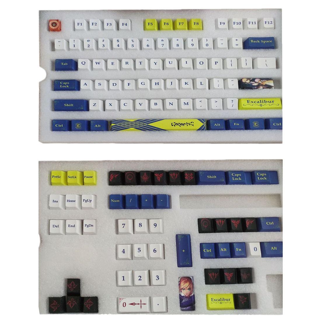 115pcs Keycaps Set Starry Sky PBT Dye-sub with Puller for 61/64/87/96/104 Keys GH60 RK61 Matrix Joke Custom Mechanical Gaming Keyboard