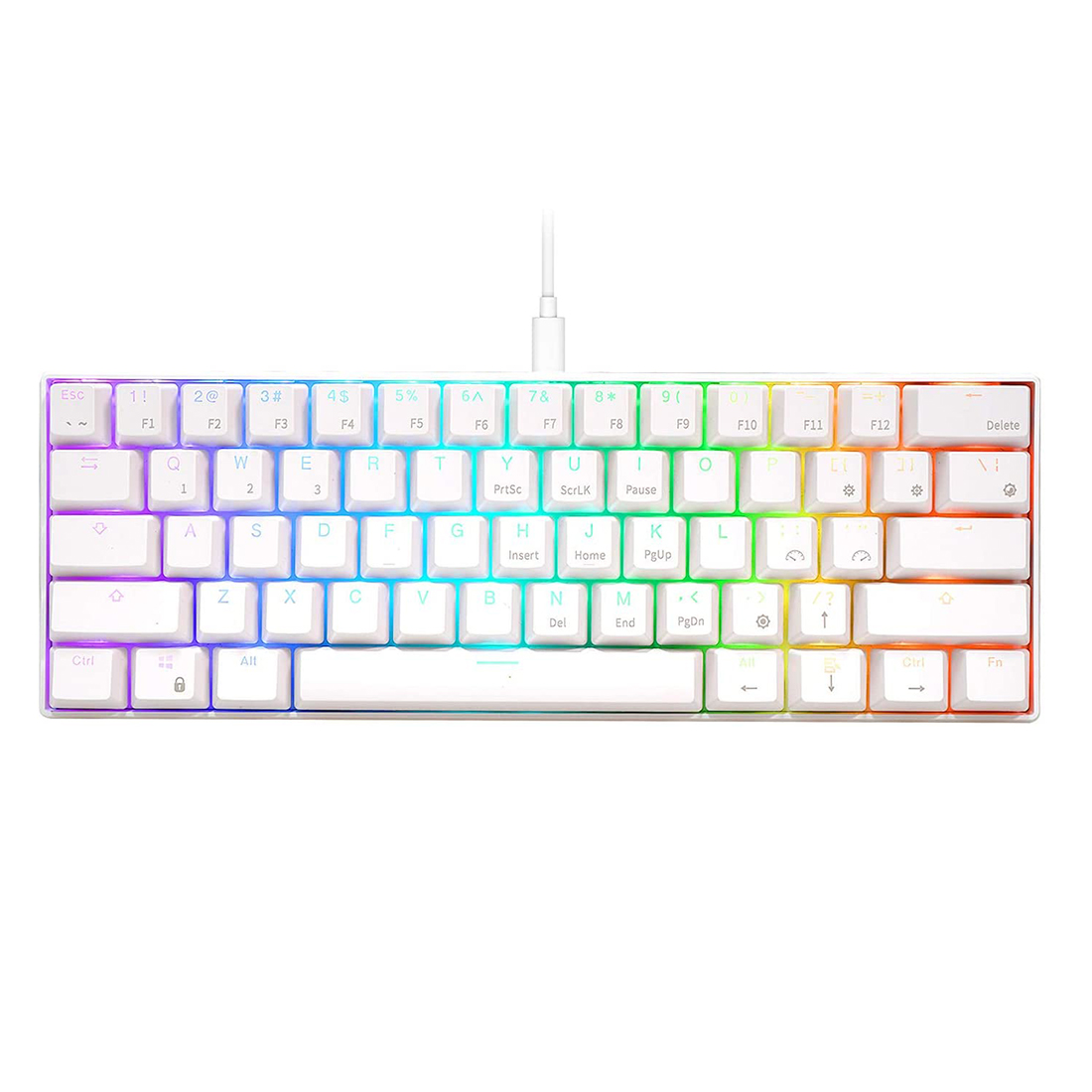 RK61 61 Keys USB 60% Mechanical Gaming Keyboard Compact Bluetooth Keyboard for Windows / Ios / Andoid - White Case + RGB Light (Red Switch)