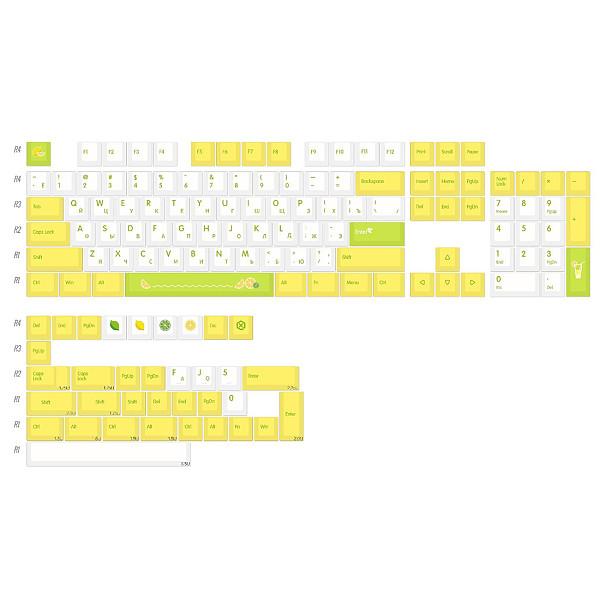 139pcs Lemon Style Keycaps Set PBT Dye-sub with Puller for 61/64/87/96/104 Keys GH60 /RK61 /Matrix /Joke Custom Gaming Mechanical Keyboard