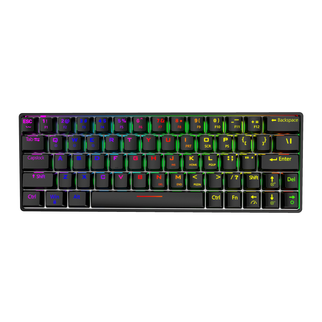 Shark64 Gaming Mechanical Keyboard 64 Keys Bluetooth Wired Dual-mode RGB Backlight - Black