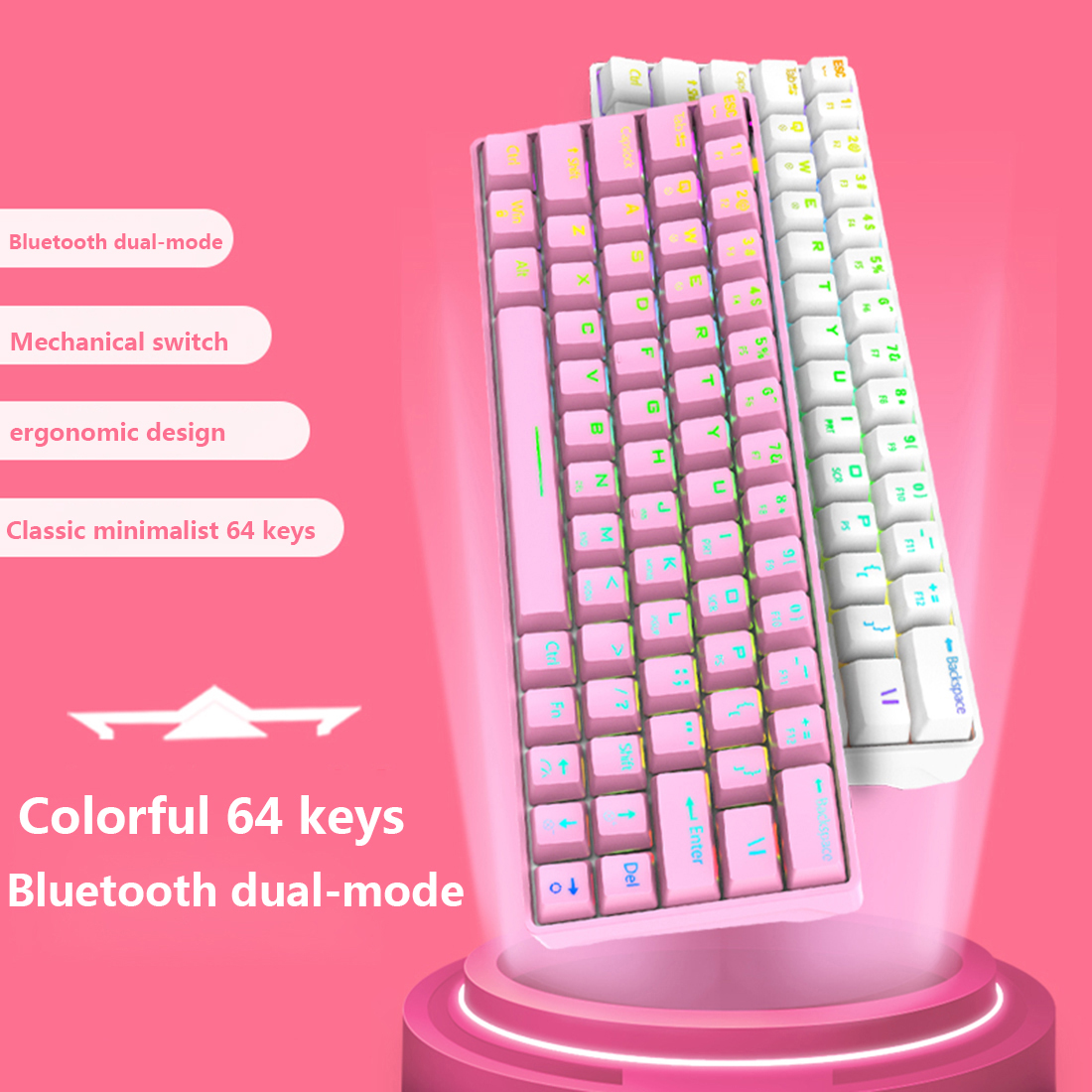 Shark64 Gaming Mechanical Keyboard 64 Keys Bluetooth Wired Dual-mode RGB Backlight