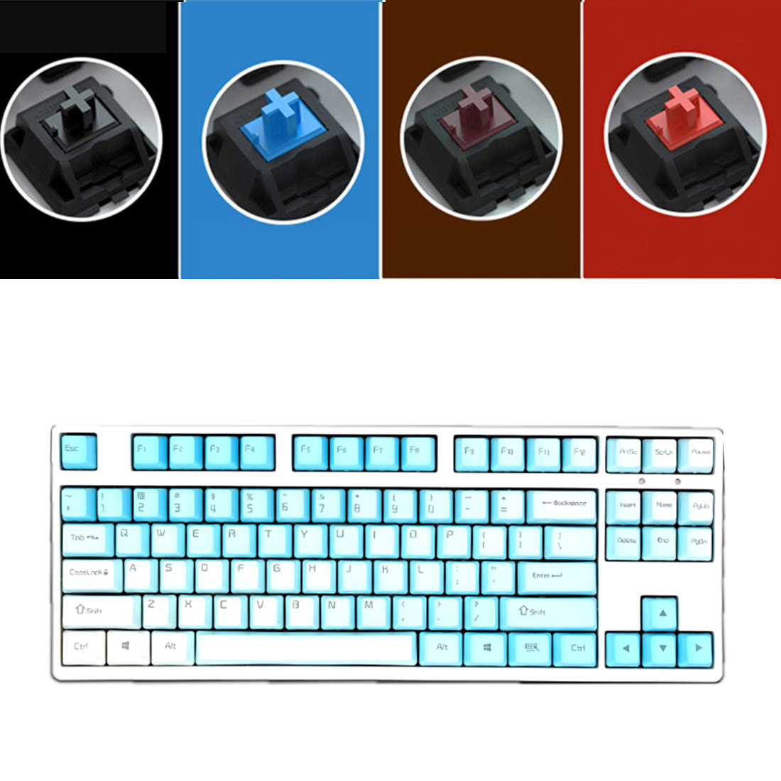 Unicorn 87 Keys Wired Mechanical Keyboard E-sports Gaming Keyboard - White / Frost Blue (Cherry Red Switch)