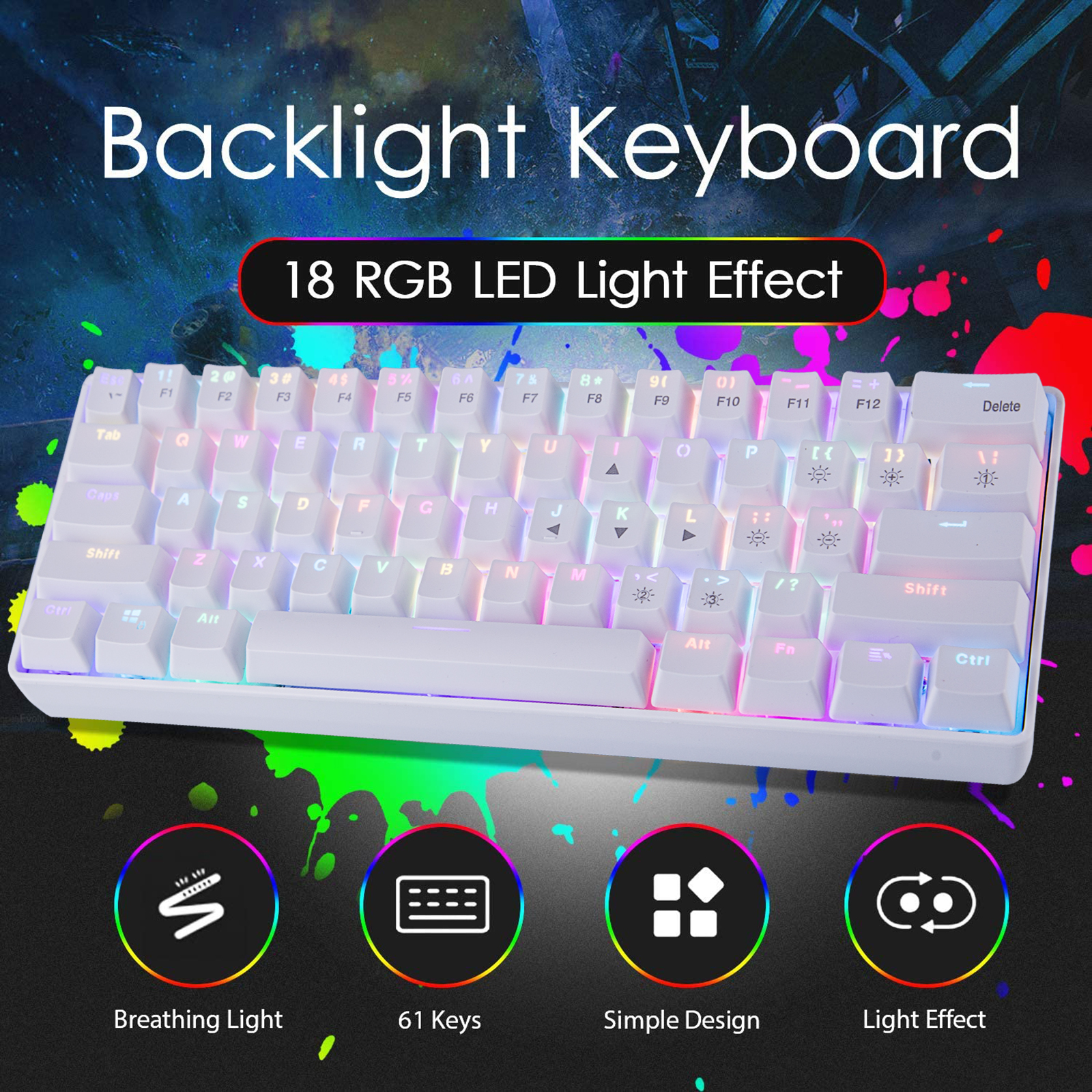 YC60 61-Key 2.4G Wireless Dual Mode RGB Mechanical Keyboard for Office Electronic Sports Games