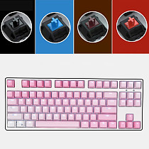 Unicorn 87 Keys Wired Mechanical Keyboard E-sports Gaming Keyboard - White Backlit / Pink (Cherry Red Switch)