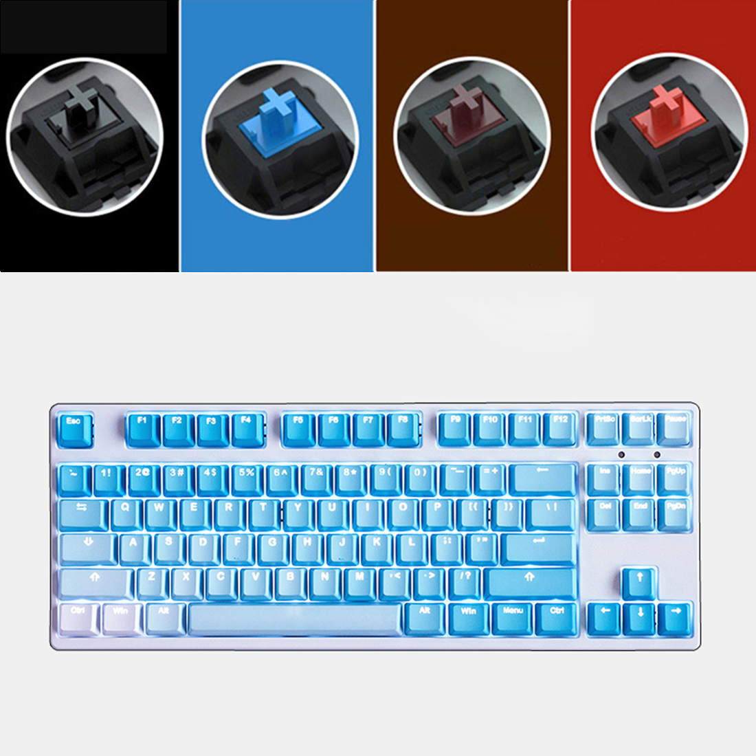 Unicorn 87 Keys Wired Mechanical Keyboard E-sports Gaming Keyboard - White Backlit / Frost Blue (Cherry Red Switch)