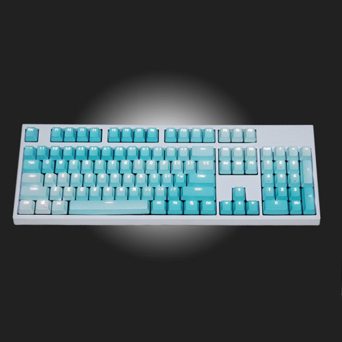 Unicorn 104 Keys Wired Mechanical Keyboard E-sports Gaming Keyboard (White Backlit + Frost Blue Keyboard)