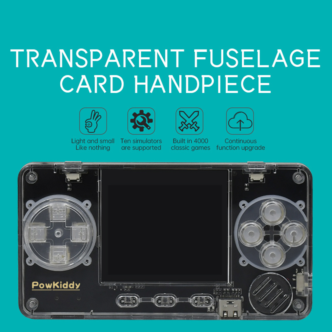 POWKIDDY A66 Handheld 10000 Games Retro Game Console Ultra Card Transparent Game Machine - 32G Silver