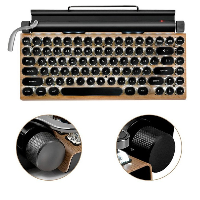 TW1867 83-Key Retro Typewriter Mechanical Keyboard Punk Keycaps Wireless Bluethooth Wired Dual-Mode for Office PC Gaming Compatible with Win/Mac/iOS/Linux