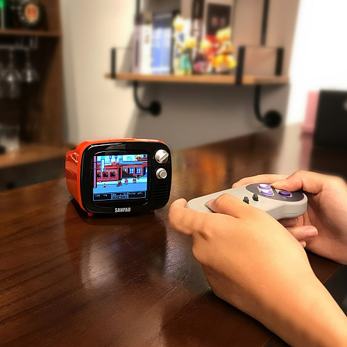 Sanpao Mini Retro TV Portable Game Console Android 7.1 System Watch TV (1 of SFC Wireless Gamepad)